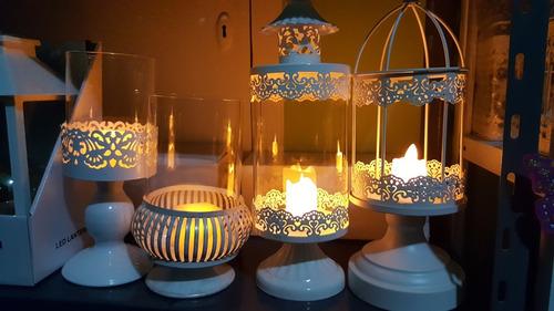 porta velas fanal con velas de cera con luz led decoracion