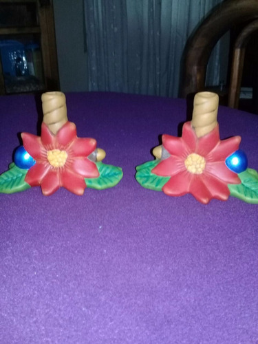 porta velas para navidad de cerámica