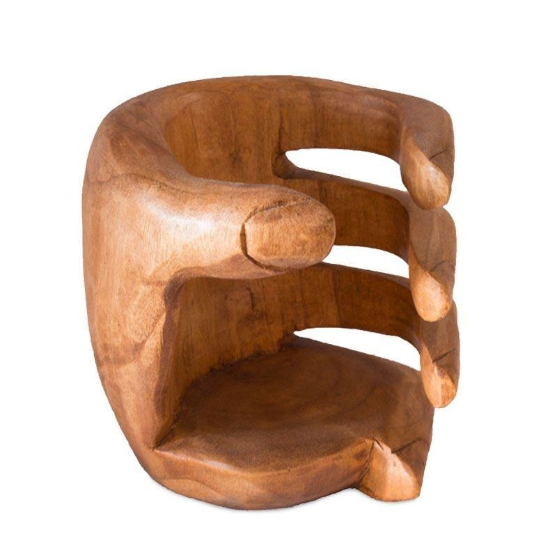bc8e91837 porta vinhos madeira 15cm bali arte rústica formato de mão. Carregando zoom.