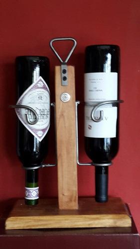 porta vinos en hierro y madera echos artesanal banfield