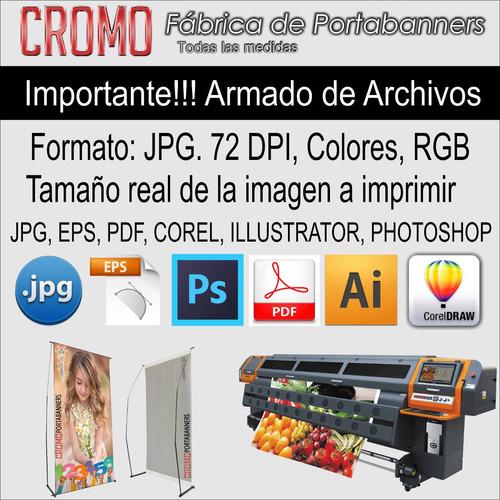 portabanner + banner 120x190 c/bolso ploteos back de prensa