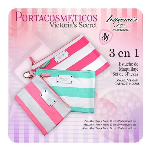 portacosmetico victoria's secret set de 3 piezas