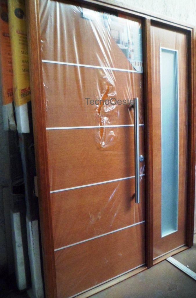Portada oblak madera lustrada cedro 1283 lateral fijo for Casas con puertas de vidrio