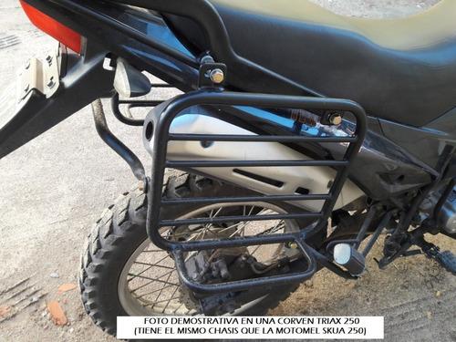 portaequipaje + soporte alforjas c/base motomel skua 250