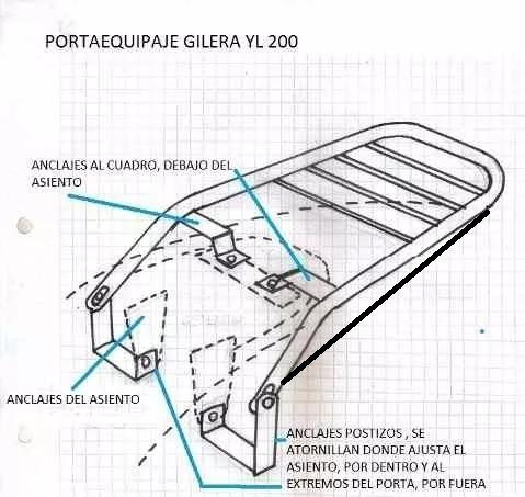portaequipaje + soporte alforjas s/base gilera yl 200