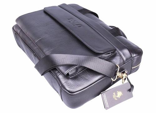 portafolio de piel polo videng m278, para laptop color negro