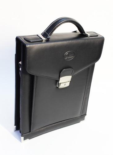 portafolio vertical de piel negro tamaño oficio