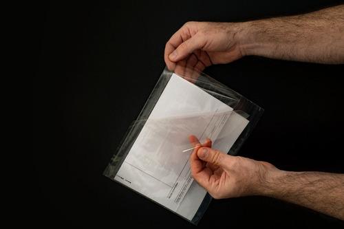 portaguia,porta voucher auto-adhesivo x500 unidades 20x25 cm