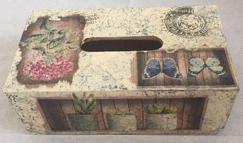 portakleenex, kleenera madera mdf decorado vintage decoupage