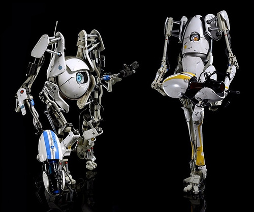 portal 2 atlas & p-body escala 1/6 - threea - robot negro