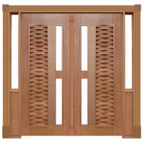 portal duplo pivotante cedro arana ripada para vidro 140