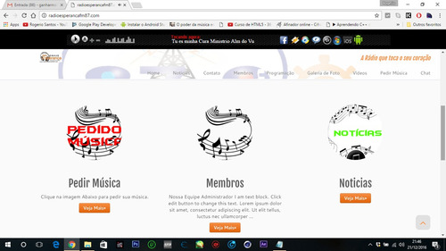 portal web rádio em wordpress responsivo