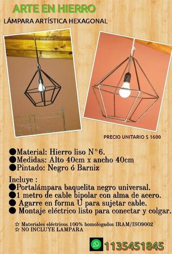 portalampara hexagonal colgante