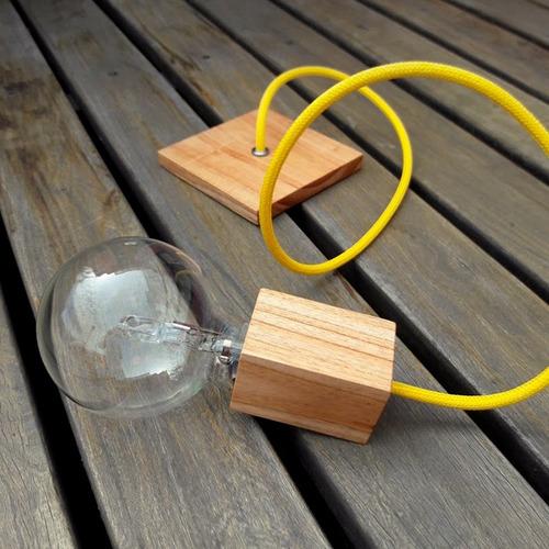 portalámparas madera paraiso, cable textil + base de techo