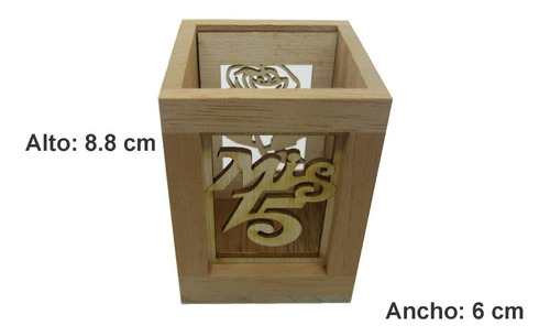 portalápices recordatorio para 15 años en madera