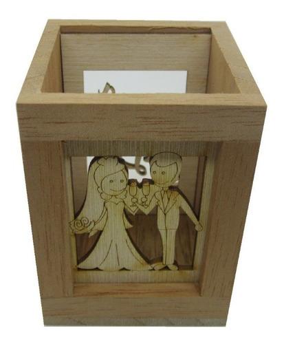 portalápices recordatorio para matrimonio en madera