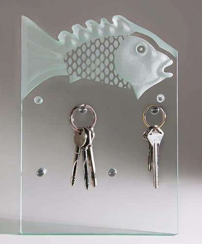 portallaves de cristal moderno pez