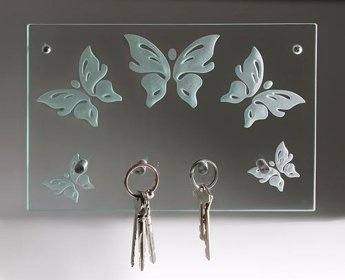 portallaves mariposas  cristal grabado llavero