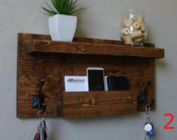 Portallaves perchero 2 repisas de madera rustico 5 ganchos for Ganchos para repisas
