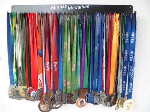 portamedalhas 60 medalhas preto em aço 30 ganchos pm30a