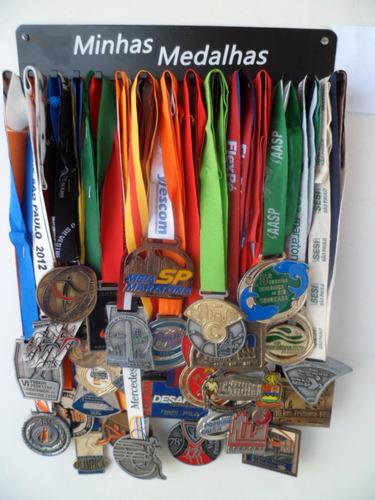 portamedalhas corrida preto aço até 45 medalhas