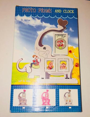portaretrato con reloj elefante infantil fotos movible