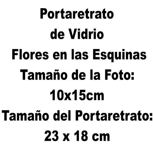 portaretrato de vidrio flores en las esquinas (foto 10x15cm)