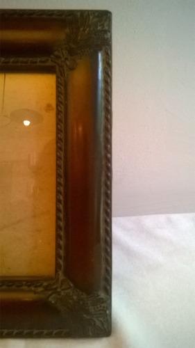 portaretrato elegante madera y hierro