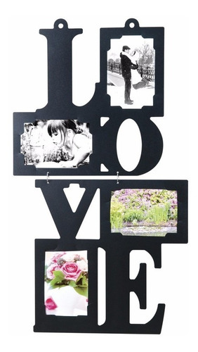 portaretratos para 4 fotos love negro