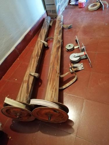 portarollos de madera macizos con eje de hierro