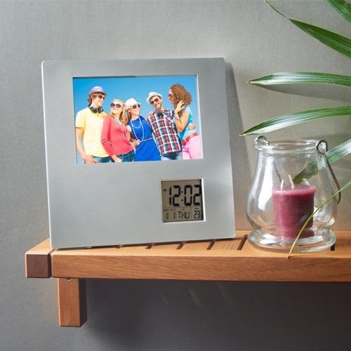 portarretrato horizontal vertical reloj calendario digital