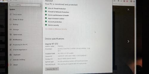 portatil acer aspire r7-572 i5 16gb ram 256 gb ssd+ 1 tb hdd