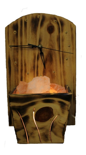 portátil de madera de sal del himalaya con reloj.