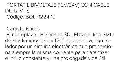 portátil led bivoltaje (12/24v) cable 12 mts