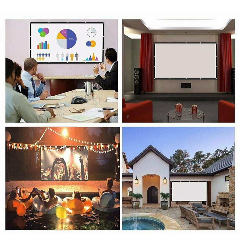 Pantalla de proyector port/átil plegable Xpccj de 60 a 150 pulgadas pantalla de proyecci/ón de color blanco pantalla de proyecci/ón 16:9 para proyector de cine en casa al aire libre//interior