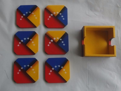 portavasos de madera pintada
