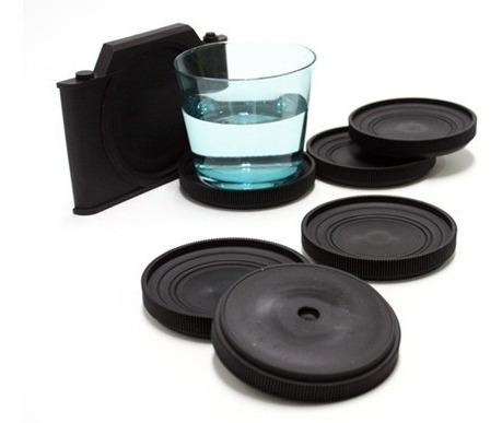 portavasos lente de camara set de 6 unds | silicone negro