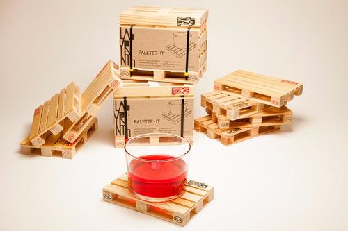 portavasos mini paleta set de 4 unds | madera