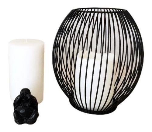 portavela centro de mesa con vela artificial souvenir fanal