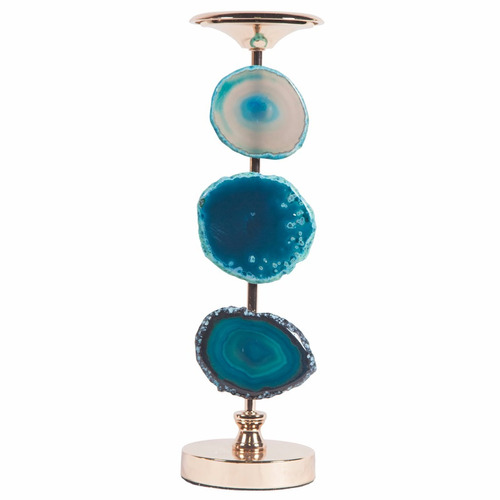 portavelas candelabro decorativo azul decoracion bm home
