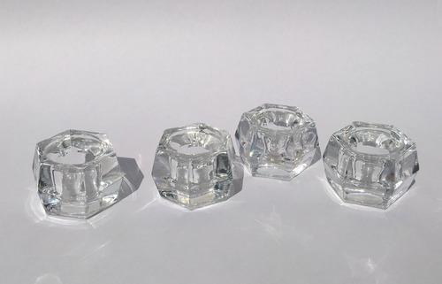portavelas de cristal juego de 4 para velas delgadas y altas