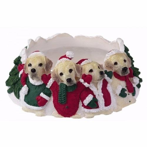 portavelas navideño labrador dorado - ceramica - hermoso!