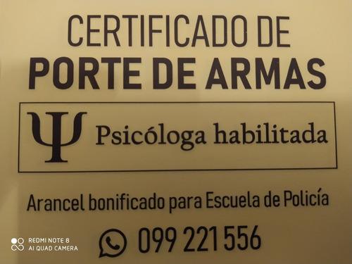 porte de armas certificado aptitud psicofisica