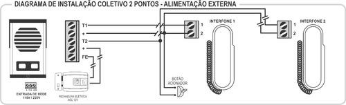 porteiro coletivo 2 pontos agl + protetor + 50 metros cabo
