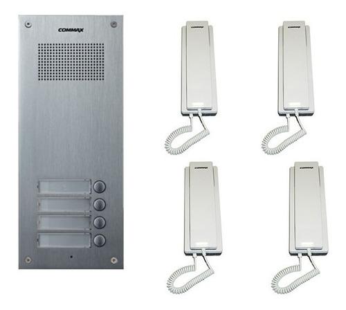 portero commax 4 pulsadores modelo 4um + 4 tel ss + fuente