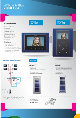portero visor commax lcd led 4,3  color antivandalico cdv43k