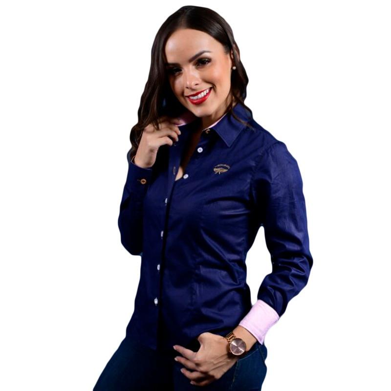 3ecba152d7 Porto Blanco Camisa Dama Manga Larga Azul Marino Lisa D-480 ...