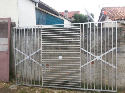 portão novo, galvanizado, quadro em tubo metalon 30x40