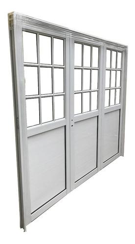 porton abrir aluminio reforzado 1/2 vidrio repartido 240x200