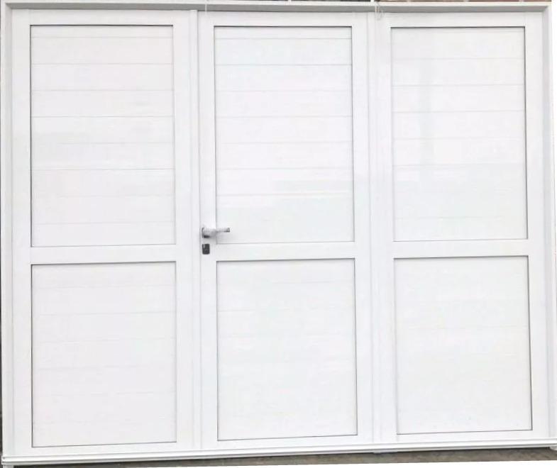 Porton Aluminio De Abrir 3 Hojas 2.40x200 Ciego Con Refuerzo ...